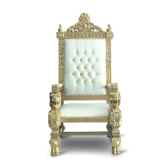 Where to find THRONE KINGS CHAIR WHITE w gold trim in Gulfport